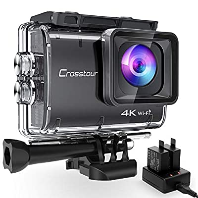 Crosstour CT9500 Native 4K50FPS Action Camera 20MP WiFi Waterproof Camera Underwater 40M with EIS, 2x1350mAh Batteries and Accessories Kit from Crosstour
