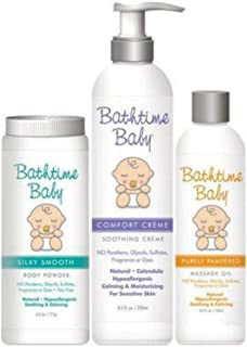 Bathtime Baby Natural Skin Care Soft Skin Trio: Comfort Creme Soothing Cream, Silky Smooth Body Powder & Purely Pampered M...