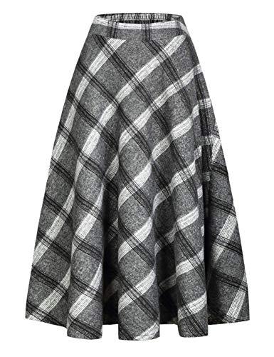 IDEALSANXUN Womens High Elastic Waist Maxi Skirt A-line Plaid Winter Warm Flare Long Skirt (XX-Large, Long Grey)