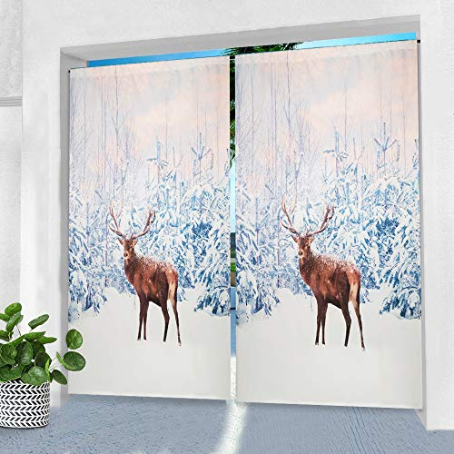 Pro Space Outdoor-Vorhänge für Terrasse, 127 x 213,4 cm, Motiv: Hirsch im Schnee, bedruckt, wasserdicht, für Pergola, Veranda oder Balkon, 1 Panel
