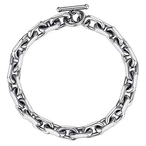 Trendsmax 9mm Classic Stainless Steel Toggle Clasp Charm Oval Rolo Cable Bracelet Link Chain Silver Tone 8 Inch
