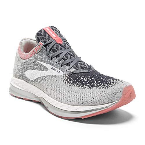 Brooks Womens Bedlam Running Shoe - Grey/Coral/White - B - 9.0