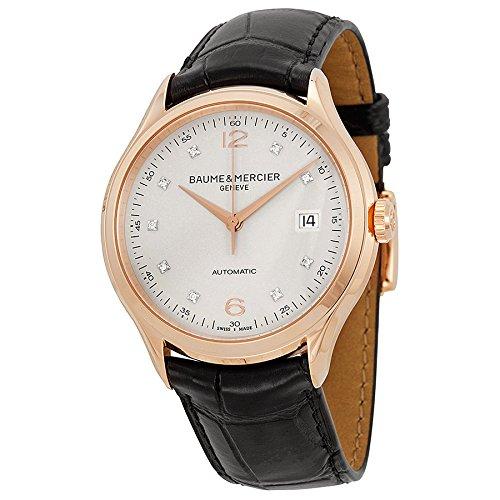 Baume e Mercier Clifton Silver Diamond Dial 18kt oro rosa nero orologio da uomo in pelle di alligatore