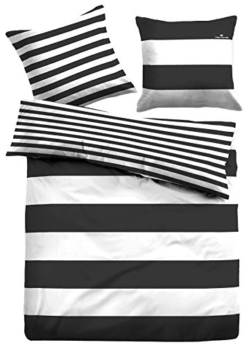 TOM TAILOR 0049769 Linon Bettwäsche Garnitur mit Kopfkissenbezug (Baumwolle) 1x 135x200 cm + 1x 80x80 cm, schwarz