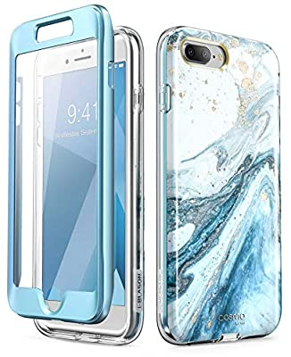 i-Blason Cosmo Glitter Clear Bumper Case for iPhone 8 Plus/iPhone 7 Plus, Blue