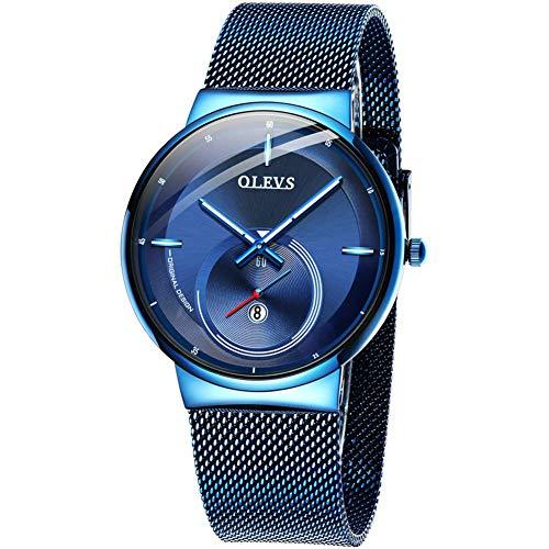 CETLFM Horloge Mannen Quartz Datum Blauwe Wijzerplaat Dunne Top Merk Horloges Sport Chronograaf Mesh Riem Polshorloge Man Klok
