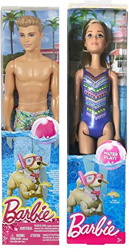 Barbie in Blue Couple Doll 2 Pack Pretty Blonde Fashion Swimsuit Water Play Bundled with + Ken Doll in Swim Trunks Makes a Splash Original 2-Pack