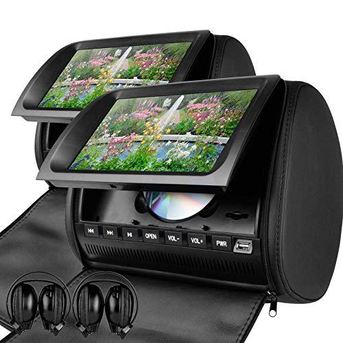 XTRONS Black 2X Twin Car Headrest DVD Player 9