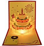 Recordable Birthday Card, Happy Birthday Card, Musical Birthday Cards, Recordable Greeting Card, Pop Up Birthday Card, Birthday Music Card, 3D Card, LED Light Birthday Card (Cake_2)