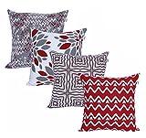 Amazon Brand - UMI Lote de 4 Cojines de algodón Cuadrados Decorativos lujosamente Impresos, Fundas de Almohada para el hogar, sofá, sillón, Silla de 45x45 cm en- Grey Red