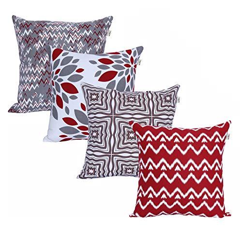 Amazon Brand-UMI Lote de 4 Cojines de algodón Cuadrados Decorativos lujosamente Impresos, Fundas de Almohada para el hogar, sofá, sillón, Silla de 45x45 cm en-Juegos-Rojo