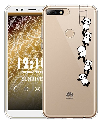 Huawei Y7 2018 / Honor 7C Hülle Silikon, Transparent Handyhülle Schutzhülle Etui Case für Huawei Y7 2018 / Honor 7C(TPU Panda 1)+Gratis Universal Eingabestift