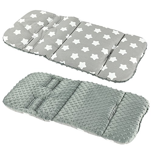Reversible Cotton & Minky Pram Insert, Liner Covers 5pt Universal (LG Stars/Grey Fleece)