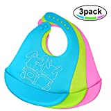 Silicone Baby Bib, Easy to Clean, Dry, Portable and Keep Stains Off, Comfortable and Adjustable Soft...