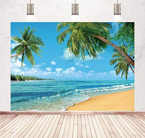 BINQOO Fondos tropicales de playa de 2,1 x 1,5 m, fondos de playa tropicales, fondos de verano, fondos de playa, accesorios para fotografía de estudio, boda, fiesta
