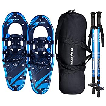 FLASHTEK 30 Inches Snowshoes for Men and Women Light Weight Aluminum Terrain Snowshoes + Pair Anti-Shock Adjustable Snowshoeing Poles + Free Carrying Tote Bag  Blue