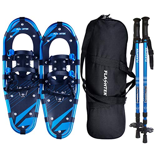 FLASHTEK 30 Inches Snowshoes for Men and Women, Light Weight Aluminum Terrain Snowshoes + Pair Anti-Shock Adjustable Snowshoeing Poles + Free Carrying Tote Bag (Blue)