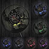 ZYBBYW Peces en Acuario Vinilo LP Registro Reloj de Pared Gato Negro atrapasueños Reloj de Cocina Acuario Gatito Miau Miau decoración-con_Led