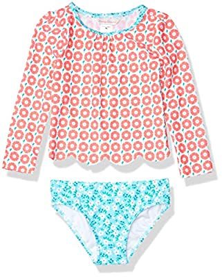 Tommy Bahama Girls' Long Sleeve 2-Piece Rashguard Swimsuit Bathing Suit, Coral Floral, 14