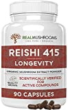 Real Mushrooms Reishi Mushroom Capsules for Longevity (90ct) Vegan, Non-GMO Reishi Extract, Reishi...