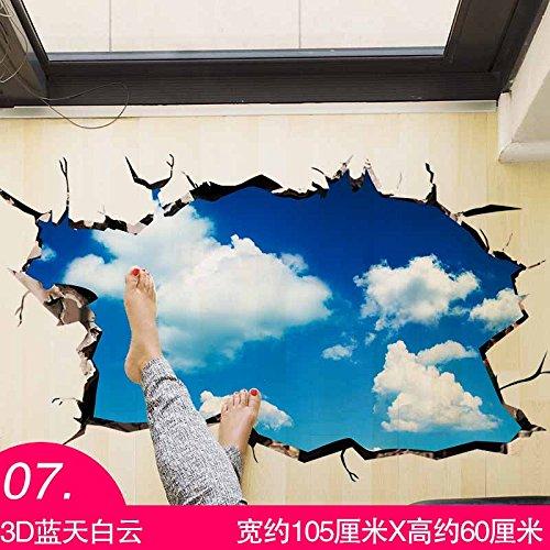 AungAoo Creative 3D-sticker slaapkamer badkamer toilet keuken in de aarde watervaste zelfklevende sticker wallpaper wallpaper, 07 3D Blue Sky Collection Priority verzending, grote