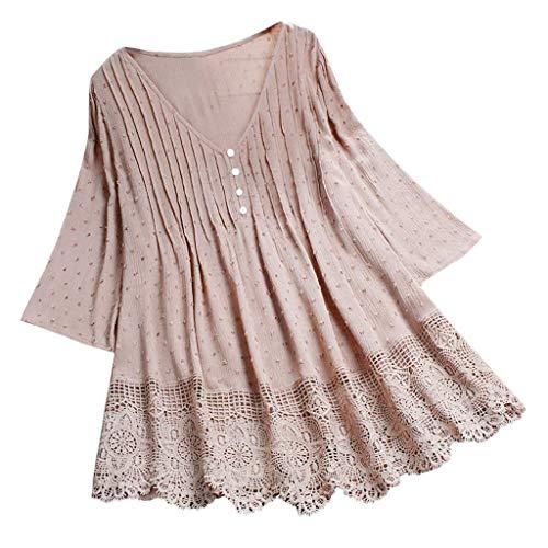 VEMOW Camisola Tops Mujer Vintage Jacquard Tres cuartos de encaje con cuello en V Talla grande Blusas superior(rosa,2XL)