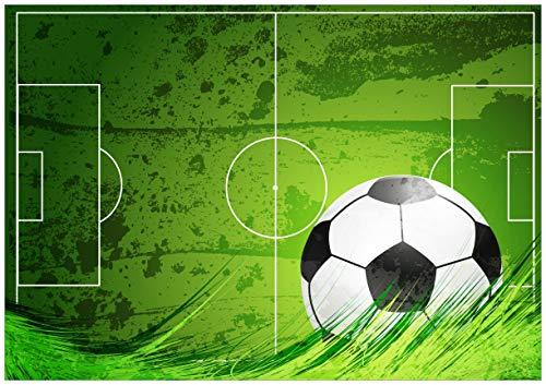 Wallario Poster - Fußball-Feld klassisch grün mit Ball in Premiumqualität, Größe: 70 x 100 cm (Riesenposter)