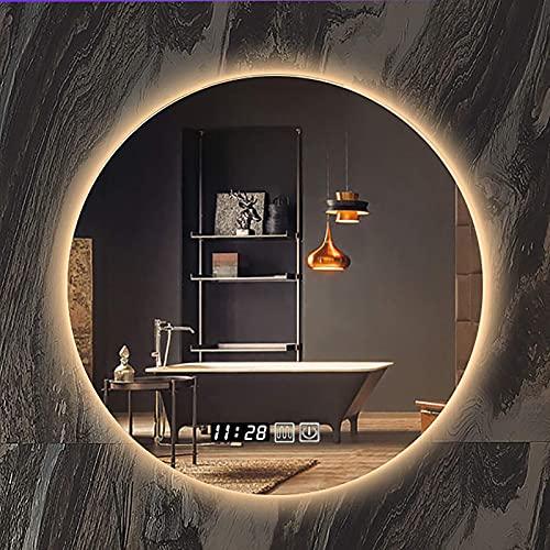 ZCZZ Espejo de baño Redondo LED Iluminado, Luces LED retroiluminado Espejo de Maquillaje con Sensor de Control táctil, 3 Colores de luz y Brillo Ajustable, IP44