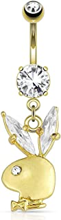 14k Gold Plated Surgical Steel Playboy CZ Dangle Belly Button Ring