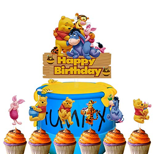 Set of Acrylic Winnie The Pooh Happy Birthday Cake Topper, Winnie The Pooh Inspired Cake Smash Topper, Kids Birthday Party Suppliers, Winnie and Friends Decoration (7Pcs)