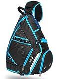 SEEU Large Sling Bag Backpack with Shoe Pocket, 32L Multi-Pocket Gym Bag (Blue)