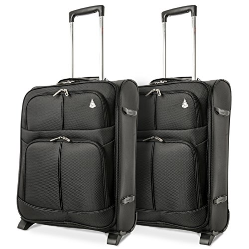 Aerolite 55x40x20 Ryanair Maximum Cabin Allowance Super Lightweight Travel Carry On Hand Luggage Suitcase with 2 Wheels, Approved for Ryanair, easyJet, British Airways and Many More (Black X2)