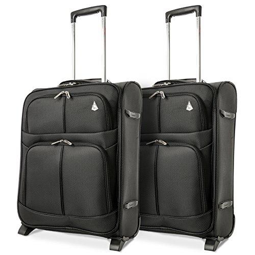 Aerolite 55x40x20 Tamaño Máximo de Ryanair y Vueling Trolley Maleta Equipaje de Mano Cabina Ligera con 2 Ruedas, Ampliable a 55x40x23cm para Lufthansa, Norwegian y Eurowings, Juego de 2, Negro