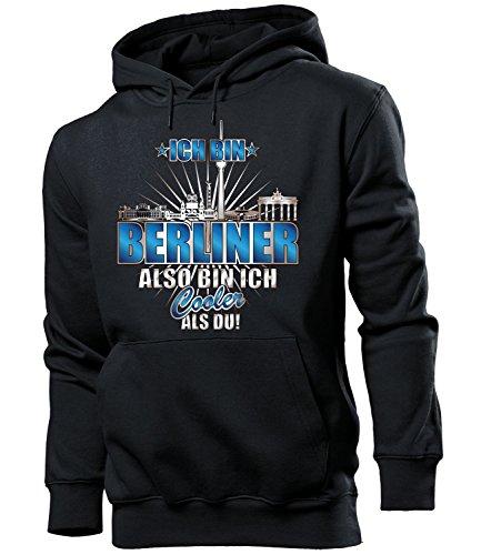 love-all-my-shirts Ich Bin Berliner Also Bin ich Cooler als du 4614 Fussball Fanhoodie Männer Herren Hoodie Pulli Kapuzen Pullover Fanartikel Schwarz XXL