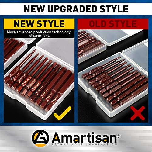 Amartisan 20-Piece Hex Head Allen Wrench Drill Bit Set, Metric and SAE S2 Steel Hex Bits Set, Magnetic Tips, 2.3