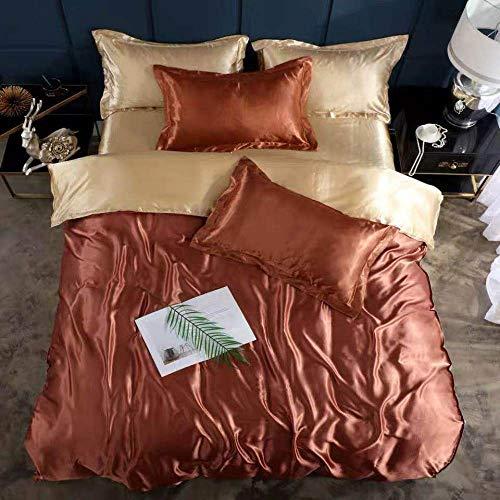 Bedding-LZ -Verano Hielo Seda Cama de Cuatro Piezas Solo Hielo Fresco Seda simulación de Seda Estudiante Dormitorio Familia Hotel-Di_1,8 m de Cama (4 Piezas)
