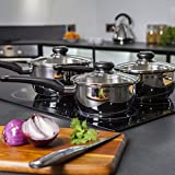 Morphy Richards 970003 Equip 3 Piece Pan Set-Stainless Steel, Set of 3