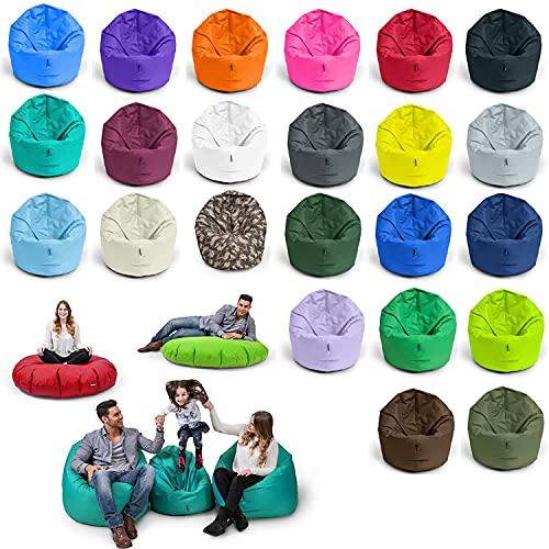 BubiBag Sitzsack XL   2-in-1 Sitzkissen mit Füllung Bodenkissen Kissen Sessel BeanBag (125cm Durchmesser, anthrazit)