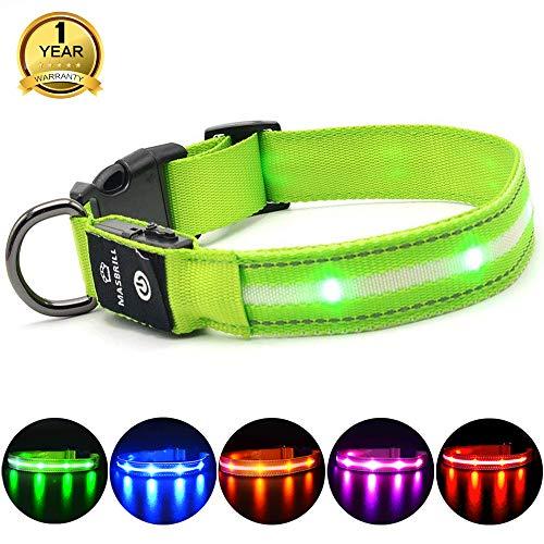 MASBRILL Leuchthalsband für Hunde Aufladbar LED Hundehalsband 100{d06d4d329c886fd295ddb8d9126a818c2286a41bb6355a97d031922f40046fda} Wasserdicht Blinkende Lichter mit USB (S, 40cm, Grün)