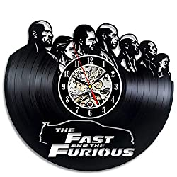 La Bella Casa Fast and Furious Action Film Vinyl Wall Clock Modern Gift Idea Handmade Vintage Gift Friendship Gift Ideas Birthday Present for Adults Youth Men Boys