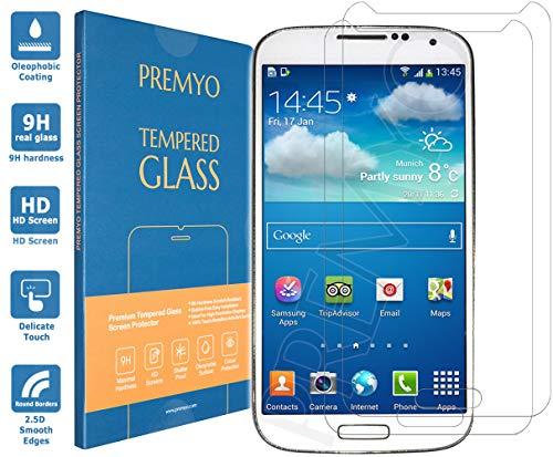 PREMYO 2 Stück Panzerglas Schutzglas Displayschutzfolie Folie kompatibel für Samsung Galaxy S4 Mini Blasenfrei HD-Klar Gegen Kratzer Fingerabdrücke