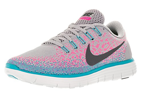 Nike Womens Free Rn Distance Wolf Grey/Dark Grey/Pink Blast Running Shoe 6 Women US