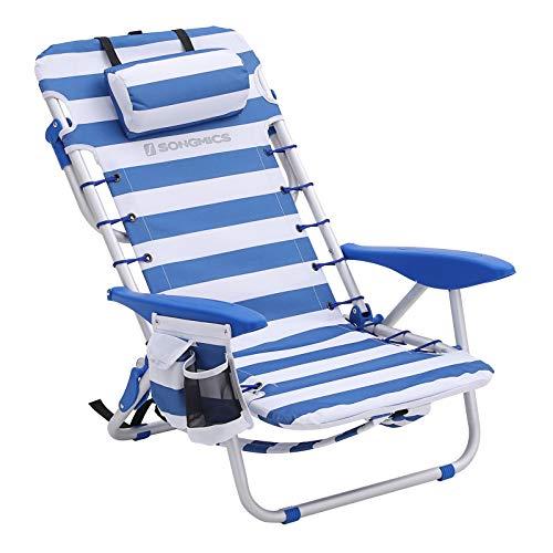 SONGMICS Strandstuhl mit Kopfkissen, Aluminium, tragbarer Klappstuhl, Campingstuhl, faltbar und verstellbar, wie EIN Rucksack tragbar, Outdoor-Stuhl, blau-weiß gestreift GCB62BU