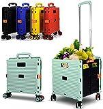 MissZZ Carrito de Maletero Plegable Supermercado Carrito de Compras de comestibles BY06 (Verde) Bolsa de Almacenamiento para lavandería Mercado de comestibles Oficina de Viajes Interior al Aire lib