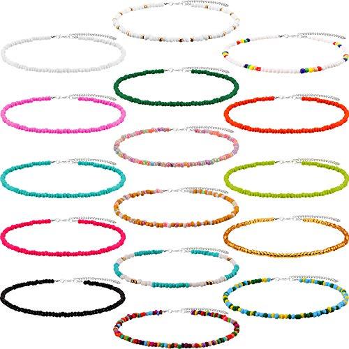 Perlen Choker Halskette Böhmische Perlen Halskette Einstellbare Reis Perlen Halskette Türkis Perlenketten für Frauen und Mädchen(Stil C, 16 Stücke)