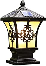 Wireless LED Solar Post Lights,Black,Outdoor Waterproof Landscape Lights with Remote Control