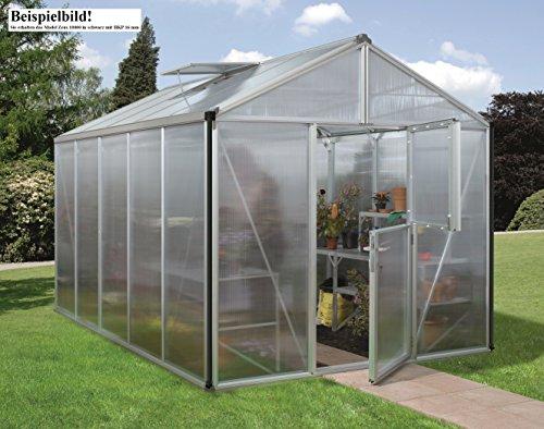 Gartenwelt Riegelsberger Gewächshaus Zeus - Ausführung: 10000 HKP 16 mm schwarz, Fläche: ca. 10 m², mit 2 Dachfenster, Fundamentmaß: 2,66 x 3,99 m
