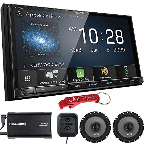 Kenwood DMX907S 6.95' Receiver Music Lover's Bundle with SiriusXM Tuner and Alpine Coaxial Speakers. 2-DIN Stereo with Apple CarPlay, Android Auto, Wireless Mirroring, SiriusXM Ready, Maestro Ready
