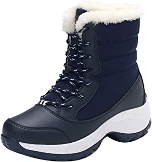 Aiweijia Ladies Winter High-Top Thicken PU Sole Lace-up Cotton Snow Boots