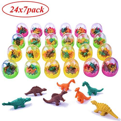 24pz Uova di Pasqua Uova di Dinosauro Gomma da Cancellare Gadget per Matita Scuola Regalino Pensierino Compleanno Bambini Battesimo Natale (stile4-24pz gomma)